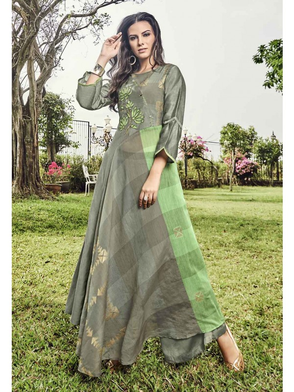 Grey Color Jacquard Readymade Kurti.