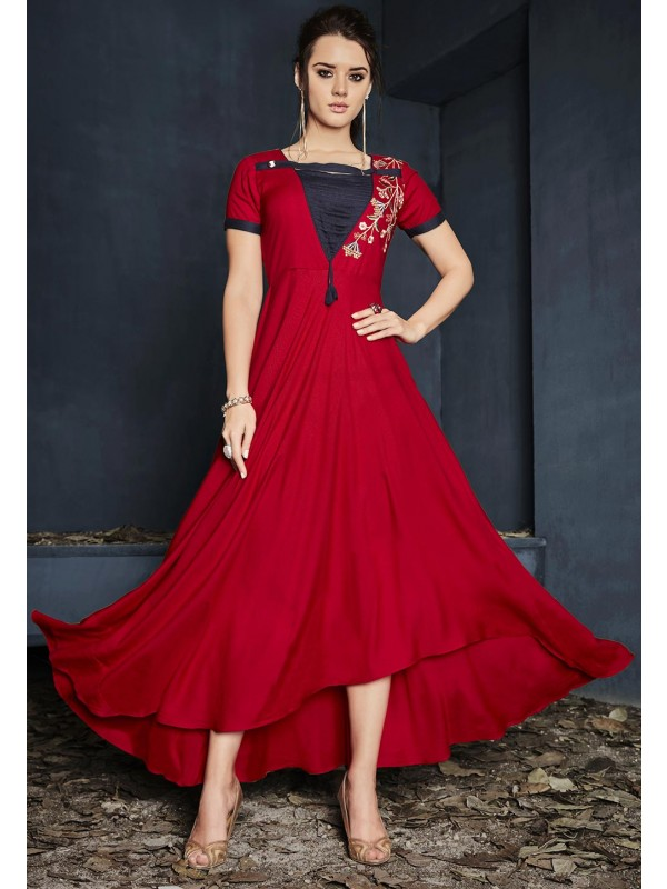 Red Color Stylish Designer Kurti.