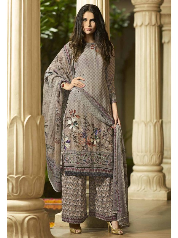 Printed Palazzo Salwar Suit in Grey Colour.