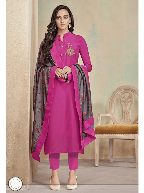 Designer Salwar Suit in Pink Colour.