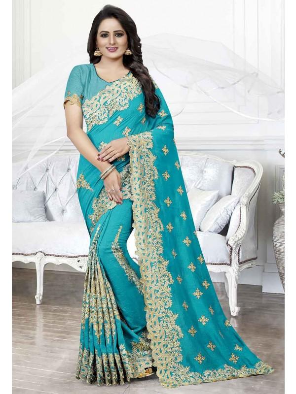 Art Silk Saree in Blue Colour.