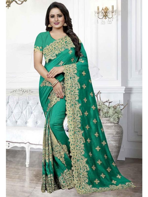 Green Colour Indian Designer Sari.