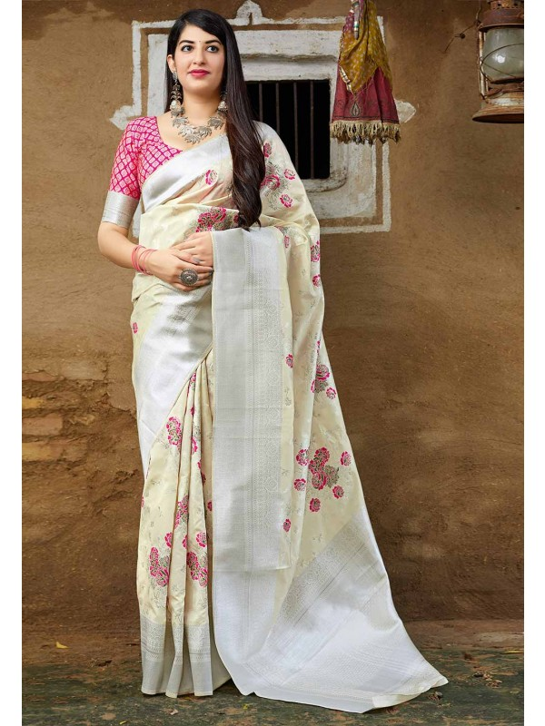 Off White Colour Silk Sari.
