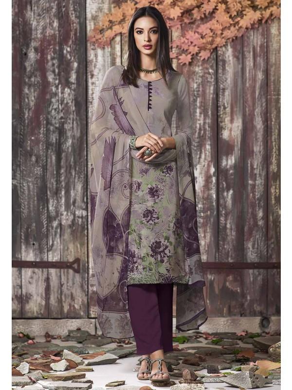 Grey Colour Printed Salwar Suit.