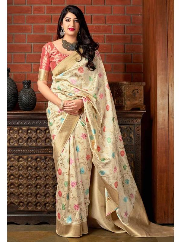 Cream Colour Indian Designer Sari.