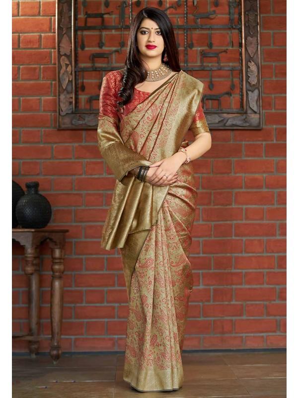 Beige Colour Weaving Saree.