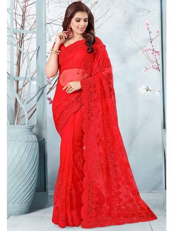 Red Colour Wedding Saree.
