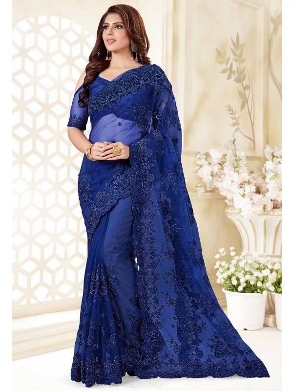 Blue Colour Net Designer Sari.