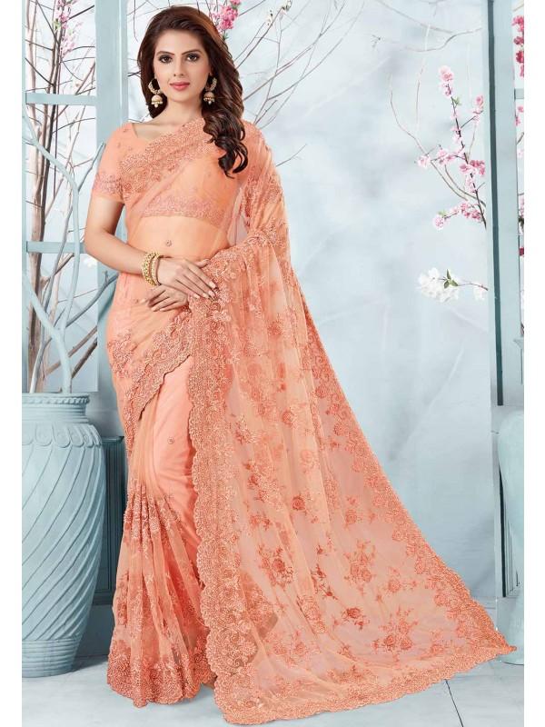 Designer Saree Peach Colour.