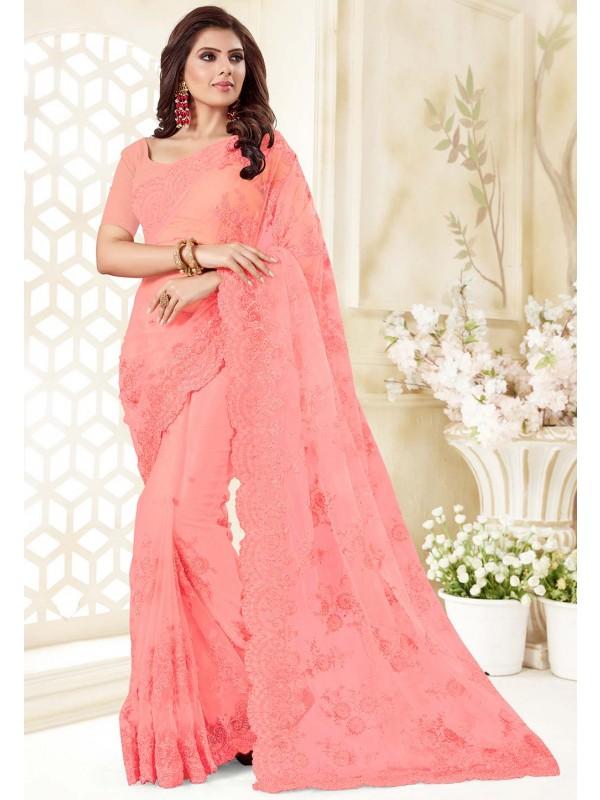 Pink Colour Net Saree.