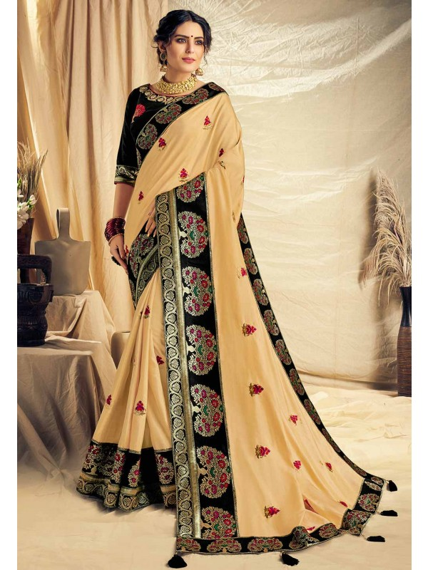 Cream Colour Indian Designer Saree.