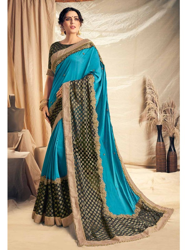 Party Wear Saree Blue Colour.