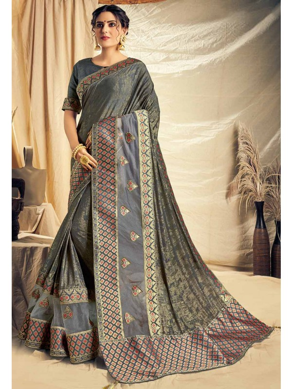 Grey Colour Weaving Sari.