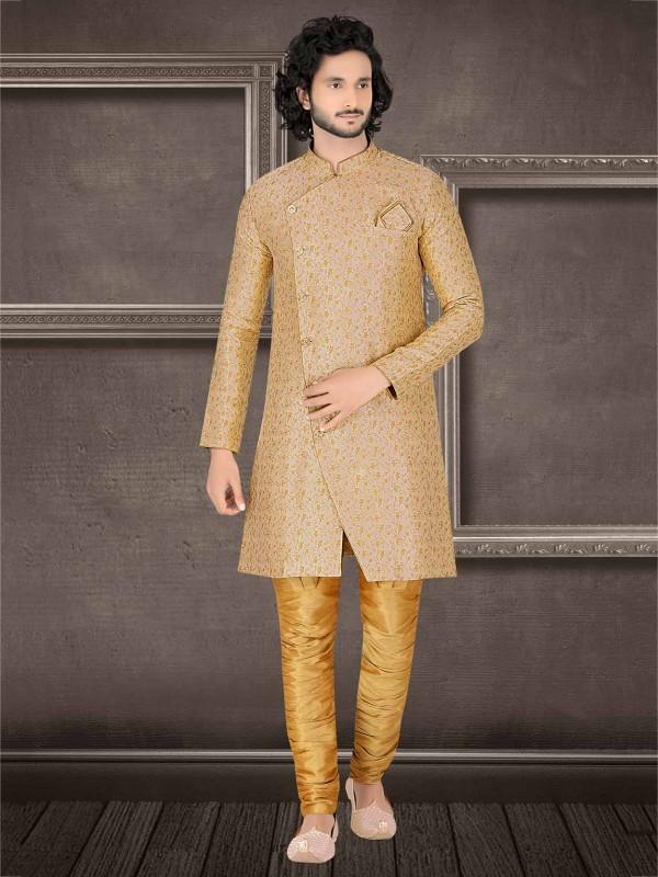 Beige Colour Jacquard Fabric Men's Indowestern.