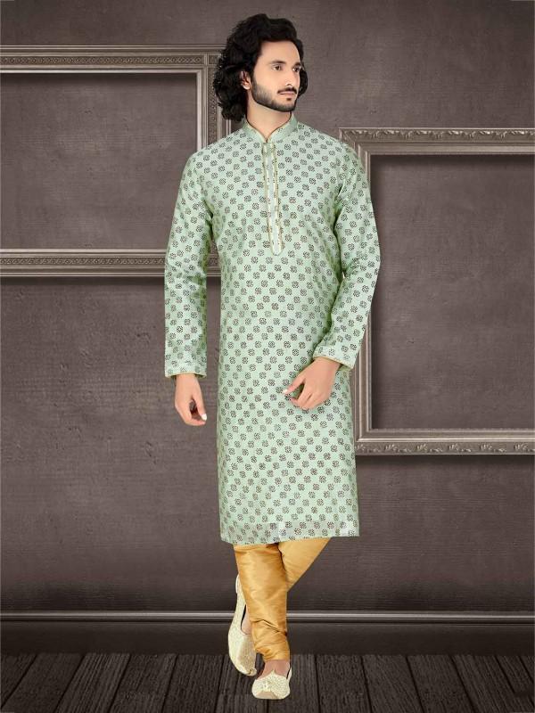 Light Green Colour Silk Kurta Pajama.