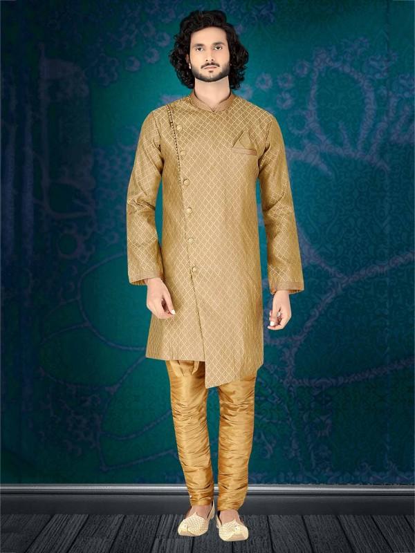 Beige,Golden Colour Designer Indowestern.