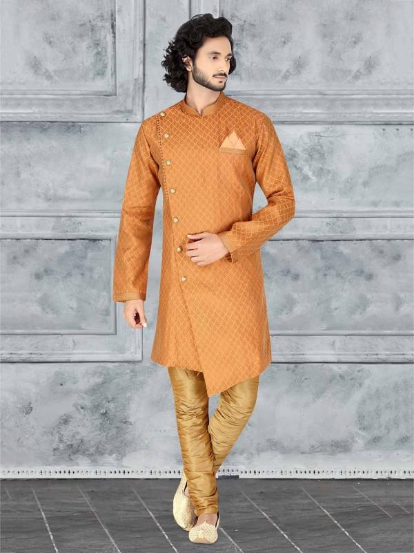 Jacquard Fabric Designer Indowestern in Rust Colour.