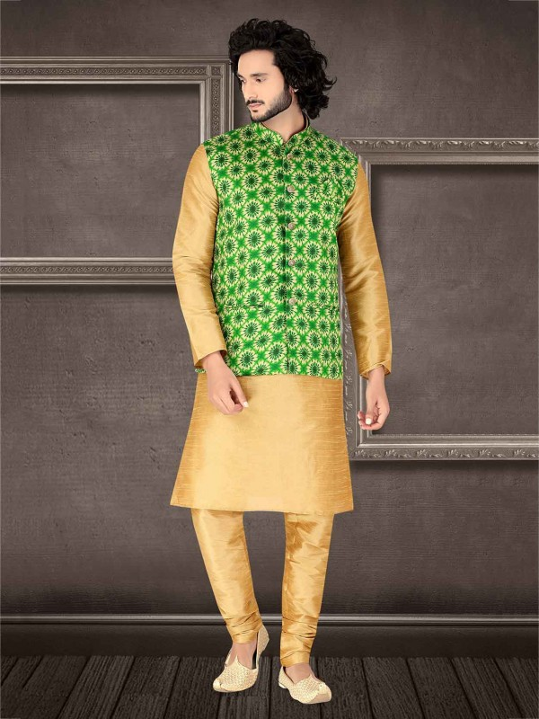 Beige,Green Colour Silk Designer Kurta Pajama Jacket.