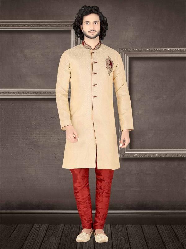 Golden Colour Jacquard Men's Indowestern.
