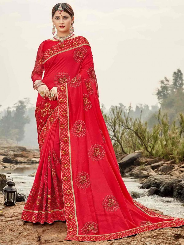 Red Colour Bhagalpuri Silk Saree.