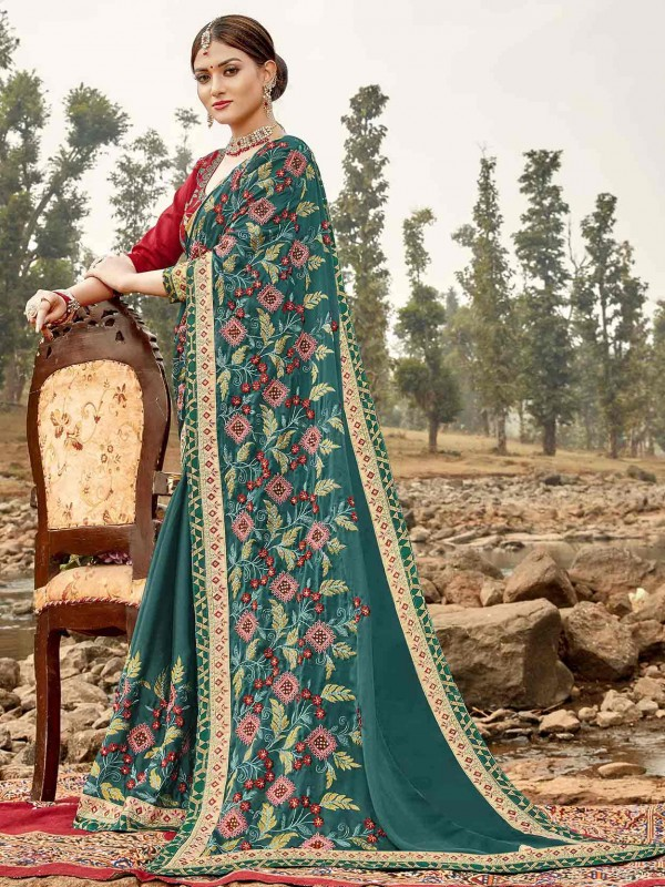 Teal Green in Embroidery Work Designer Saree.