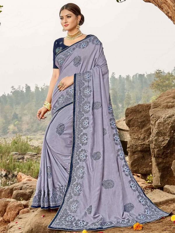 Light Purple in Bhagalpuri Silk Saree.