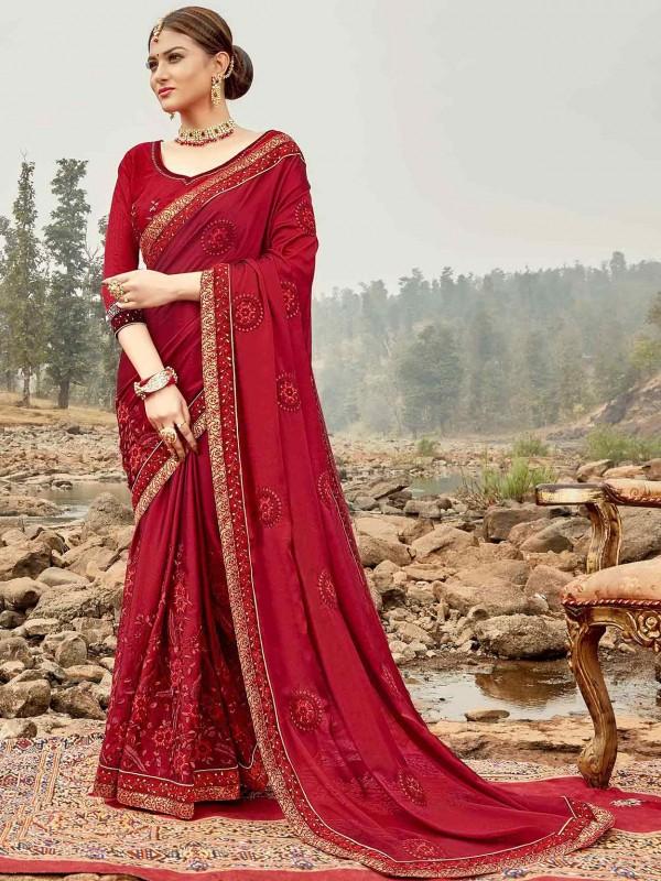 Maroon Colour Silk Embroidery Saree.