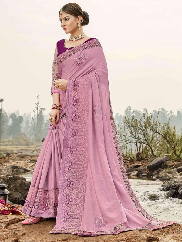 Pink Bhagalpuri Silk Designer Saree.