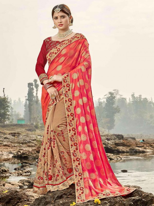 Beige,Pink Colour Indian Designer Saree.