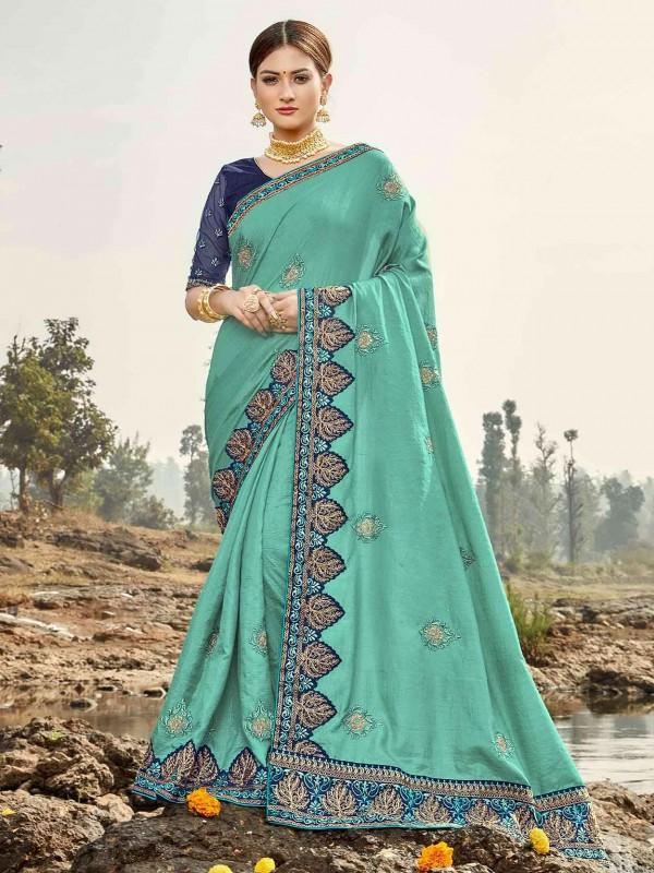 Blue Colour Silk Embroidery Saree.