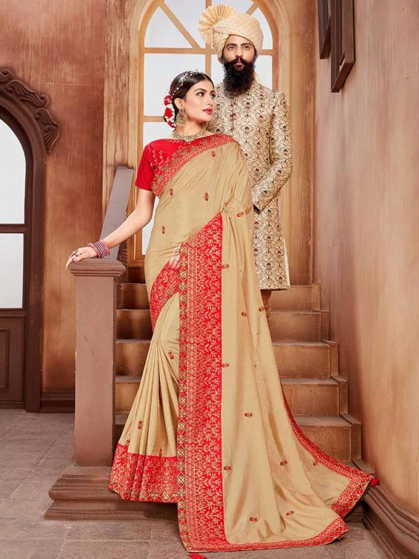 Beige Colour Silk Embroidery Saree.