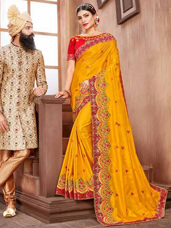 Designer Saree Yellow in Silk Fabric With Embroidery Work.