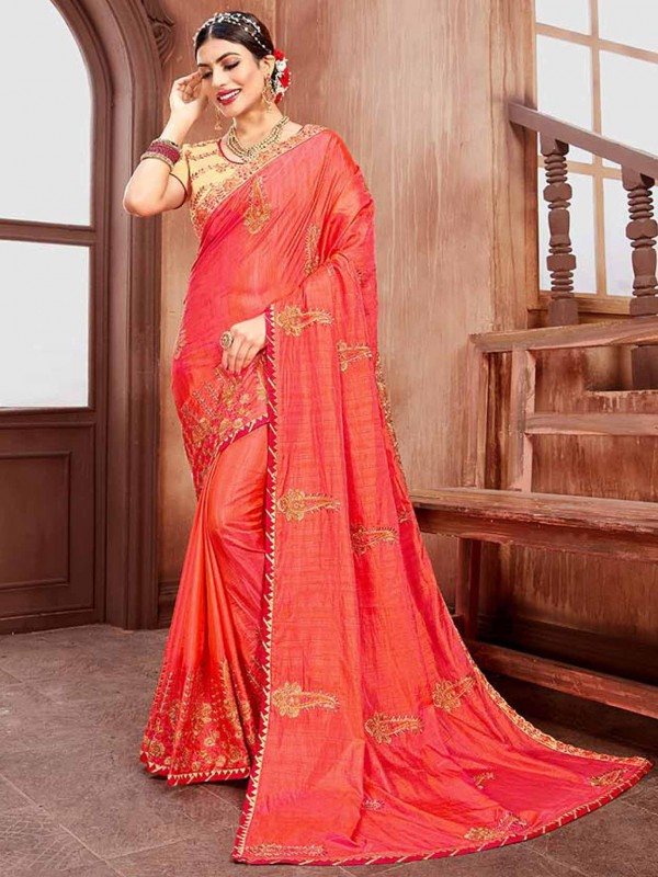 Pink Colour Embroidery Work Saree.