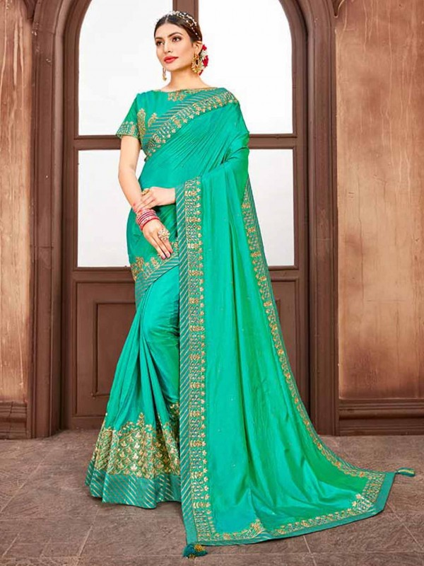 Green in Silk Fabric With Embroidery Saree.
