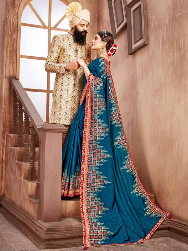 Blue Colour Bhagalpuri Silk With Embroidery Work Saree.