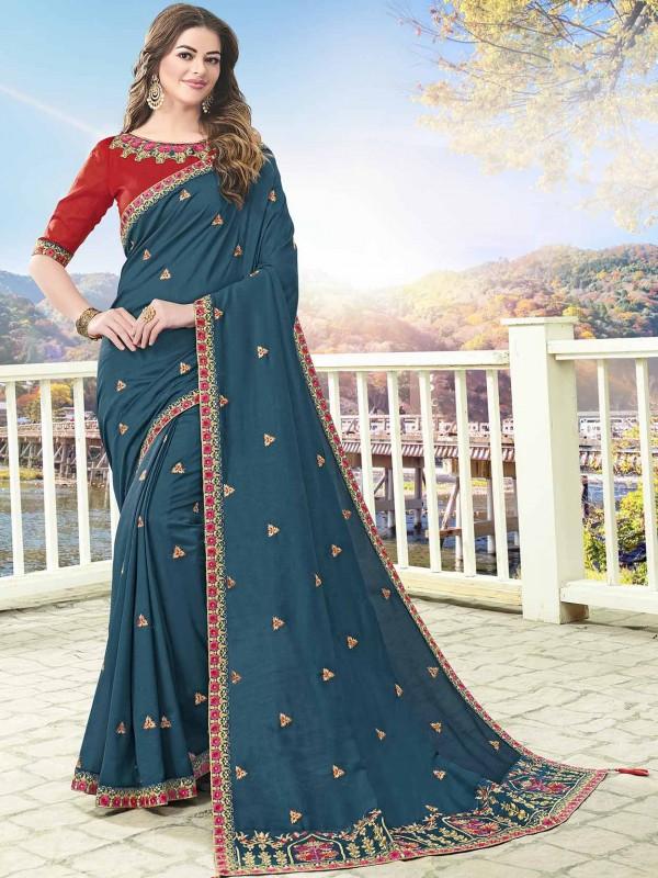 Blue Colour Art Silk Designer Saree.