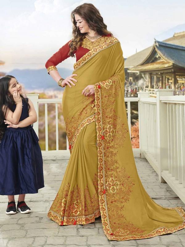 Mustard Yellow in Chiffon Fabric Indian Designer Saree.