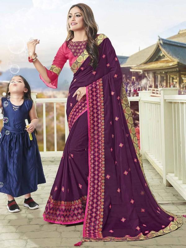 Party Wear Saree Purple Colour in Art Silk Fabric.