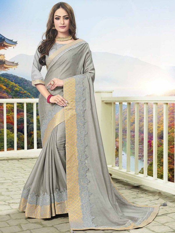 Women Saree Grey in Art Silk Fabric With Lace,Embroidered Work.