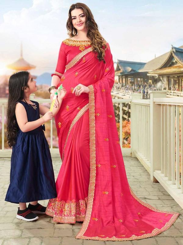 Pink Colour Art Silk Designer Women Sari.