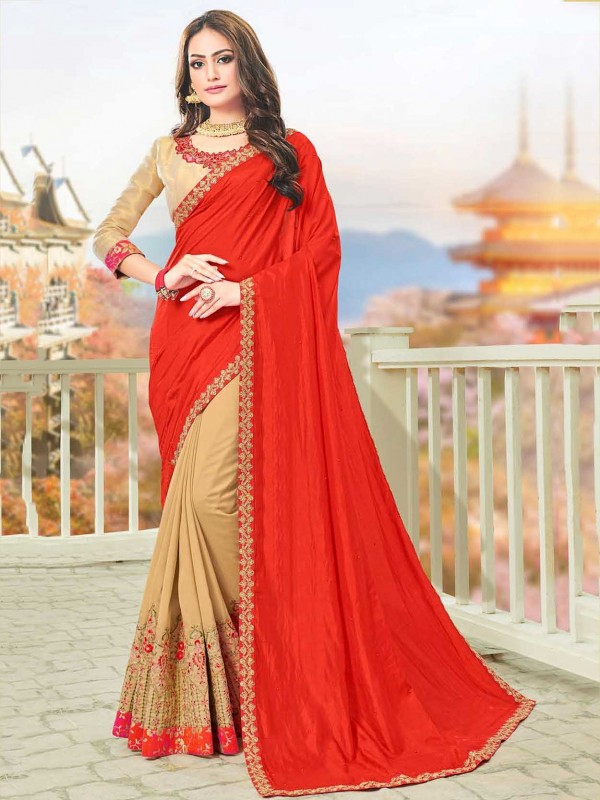 Beige,Red Colour Art Silk Indian Wedding Sari.