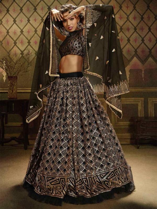 Black Colour Net Party Wear Lehenga Choli.