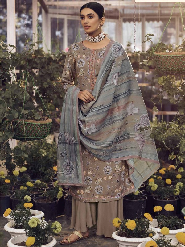 Beige Colour in Pashmina Salwar Suit With Digital Print Work.