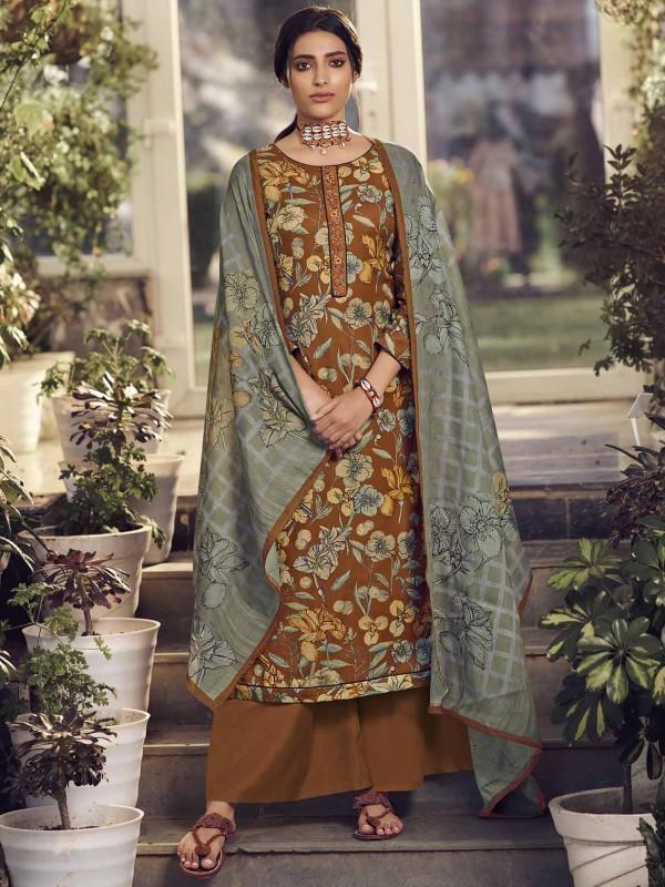 Pashmina Salwar Kameez in Brown Colour With Digital Print Work.