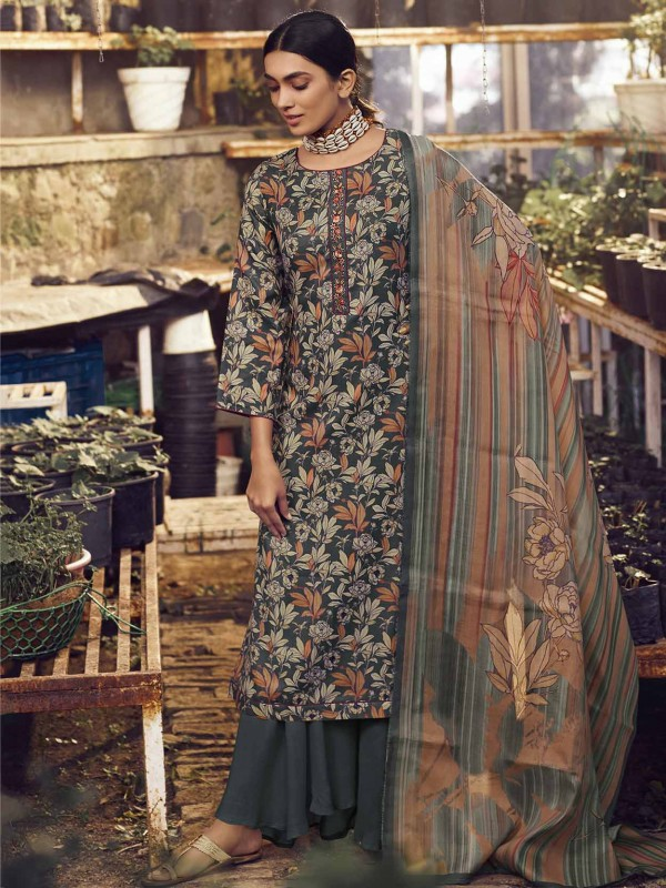 Designer Salwar Suit in Grey Colour Pashmina Fabric.
