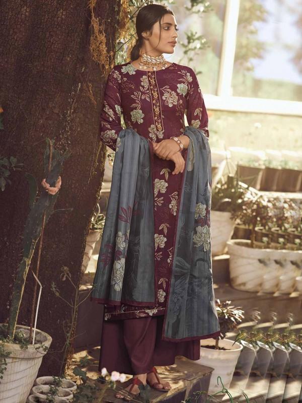 Maroon Colour Digital Print Salwar Suit.
