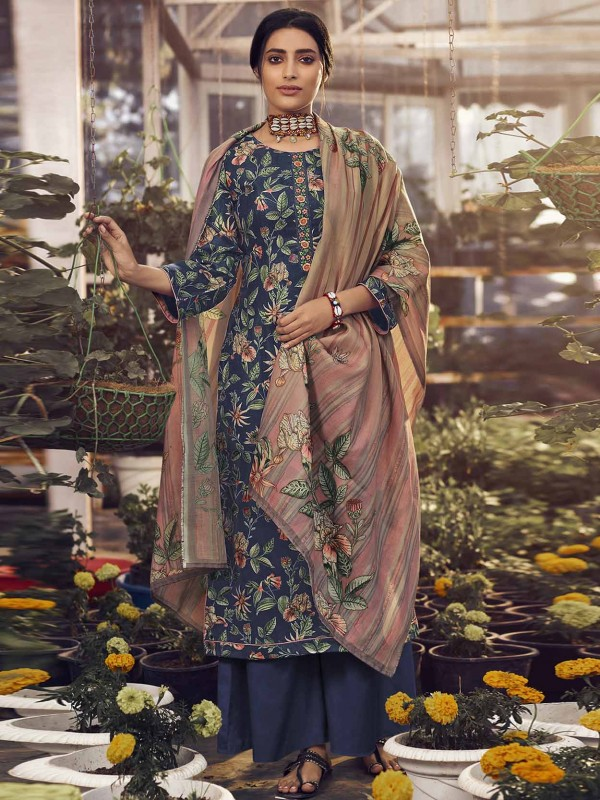 Blue Colour Pashmina Salwar Suit with Embroidered,Digital Print Work