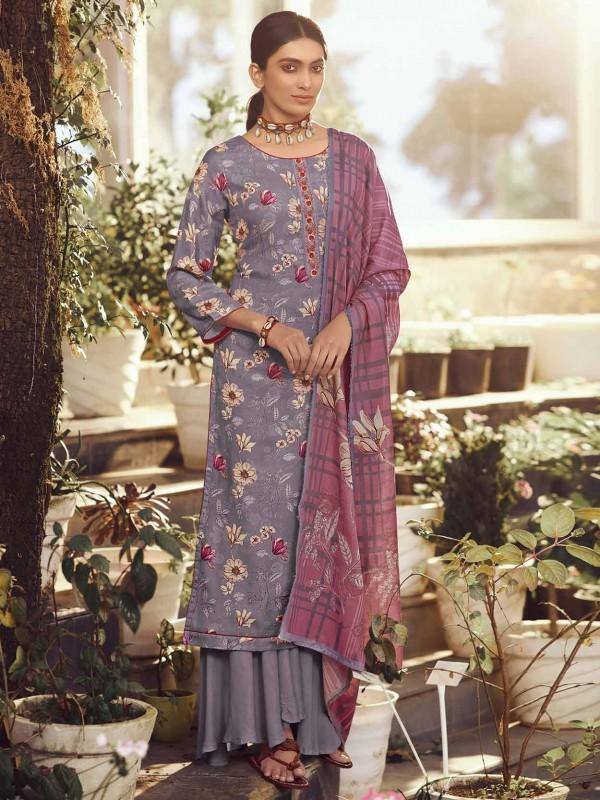 Pashmina Fabric Purple Colour Salwar Kameez.