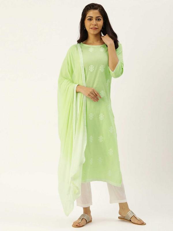 Green,White Colour Cotton Salwar Kameez.