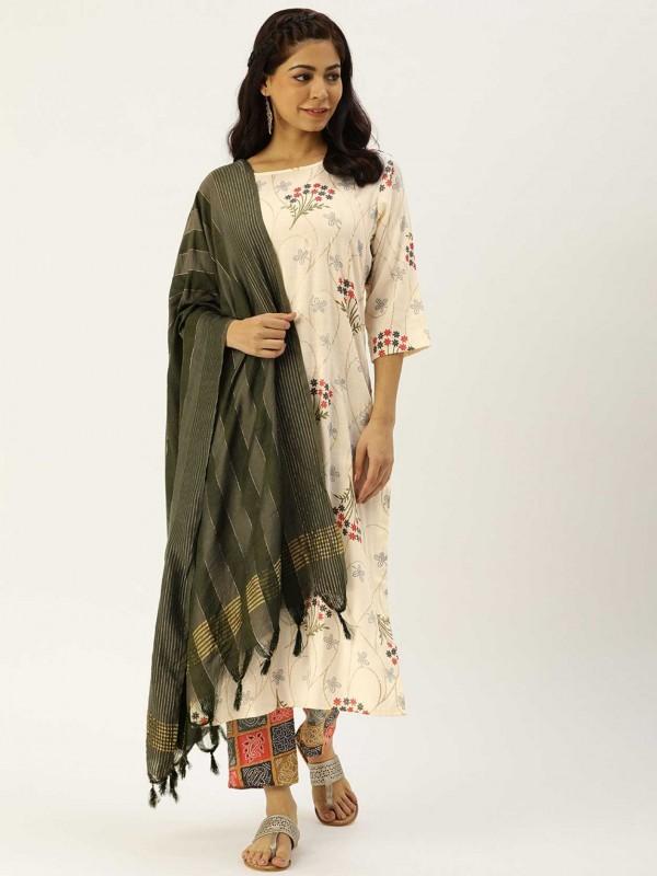 Off White,Cream Colour Salwar Suit.